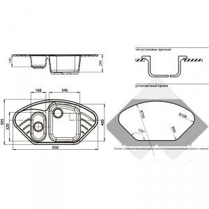 Мойка GranFest Corner GF-C960E Белый схема установки